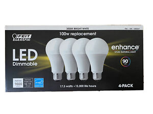 Feit Dimmable LED 3000K Bright White 4-Pack (100W Replacement) 17.5W