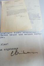 Prof. Carl BRINKMANN (1885-1954): Brief HEIDELBERG 1939 an Tabak-Gesellschaft