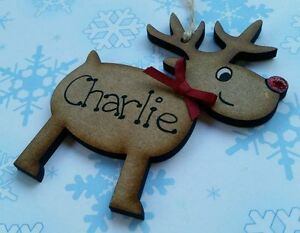 HAND MADE PERSONALISED RUDOLPH REINDEER CHRISTMAS TREE WOODEN BAUBLE DECORATION