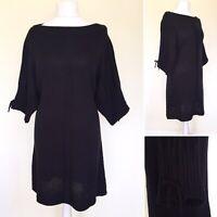 Roman L Jumper Dress 16 18 Black Knit Tunic 3/4 Sleeve Chunky Boat Neck NEW