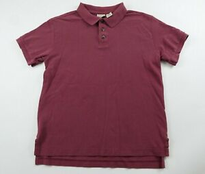 LL Bean Boys Cotton Short Sleeve Solid Maroon Polo Shirt Youth Large 14/16
