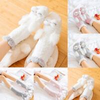 New Rabbit Ears Knit Coral Fleece Lined Socks Thermal Fuzzy Slipper Xmas Hosiery
