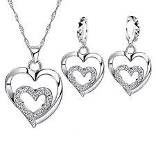 925 Sterling Silver Double Heart Cubic Zirconia Jewellery Set.