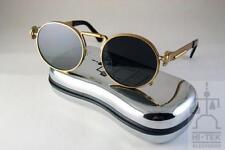 Hi Tek Alexander round gold metal frame with polarized black lens unisex sunglas