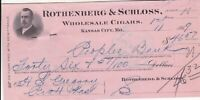 U. S. Rothenberg & Schloss Kansas City 1909 Wholesale Cigars Invoice Ref 39376