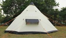 Tipi Tent 5M / 4M Zipped-in-Groundsheet Family Camping tent 8/10 Person teepee