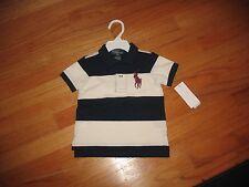 NWT Polo Ralph Lauren Baby Boys Toddlers Big Pony T-Shirt Navyblue White 9M #1v