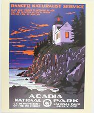 Acadia Maine Lighthouse Vintage National Park Service Art WPA Travel Poster