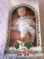 """1987 EUGENE MY CHRISTMAS BABY  Doll 17"""" Sleep Eyes NRFB Box Damaged Blonde"""