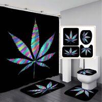 US Natural Leaf Bathroom Shower Curtain + Non-Slip Carpet Set Toilet Cover Mat