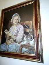 quadro cm 85 x 70 finemente ricamato a mezzopunto in elegante cornice