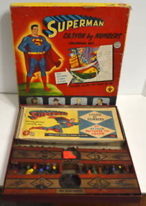 SUPERMAN CRAYON by NUMBERS COLORING SET Transogram 1954