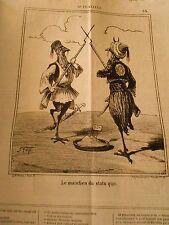 Litho Caricature 1869 - Crète Maintien du Statu Quo Les 2 Coqs Fusil aiguille