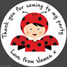 Personalised Ladybird Birthday Party round stickers labels party cone sheet