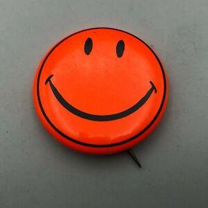 Vintage Neon Orange Happy Smiley Face Badge Button Pin Pinback  E1