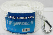 Anchor Rope 30m x 10mm PE Silver Anchor rope for Boat M6216