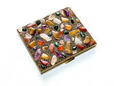 Beautiful Vintage Samuel Fink Multi Natural Stone Compact With Mirror & Powder