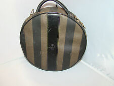 vintage authentic FENDI brown zucca stripe ZIP-AROUND round TRAINCASE makeup bag