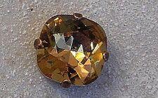 1 cabochon carré 12 mm serti light colorado topaz, cristal de swarovski.