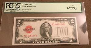 1928 $2 legal tender note, gem uncirculated, pcgs 65 pmq