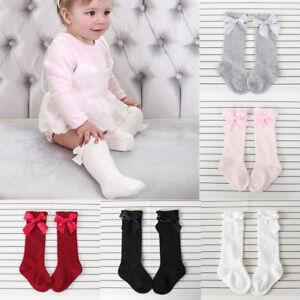 Kids Girl Cotton Socks Bowknot Knee High Long Socks Princess Anti Slip Stockings