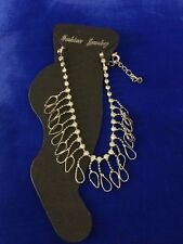"""8"""" with 2 1/2"""" Extension Silver Rhinestone Chain Anklet Ankle Bracelet"""
