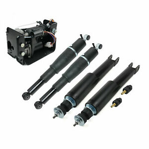 Complete Kit For GMC Yukon XL 1500 Rear Front Air Suspension Shocks Struts+Pump