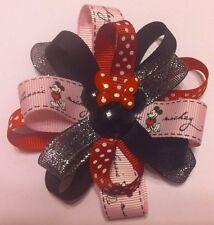 "Girls Hair Bow 3 1/2"" Wide Flower Pink/Black Minnie Grosgrain French Barrette"