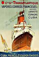 Art Ad Transatlantique  Espagne Cuba Spain Mexico ship Liner Travel Poster Print