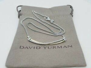David Yurman Sterling Silver Crossover Bar Necklace with 18K Gold