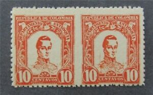 nystamps Colombia Stamp Used Imperf Between Error Pair Rare   A9y188