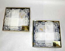 2 MIB Vintage Bruge Souvenir Box Handmade Lace Handkerchiefs w Tiny Wood Bobbins