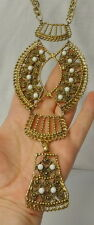 Vintage Massive Chunky Runway Huge Etruscan Milk Glass Stone Statement Necklace