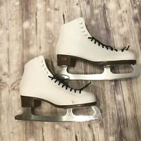 Riedell Figure Skating Ice Skates White 110W Womens 9 Blades 10 2/3