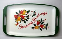 Vintage Seasons Greetings Melamine Serving Tray Christmas Holiday Bell Holly MCM