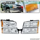 Fit For 03-06 Chevy Silverado Chrome Amber Corner Headlights + Signal Bumper  for sale