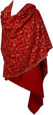 Pashmina Stola groß 100 x200 100 % Kaschmir Cashmere hand bestickt Rot stole