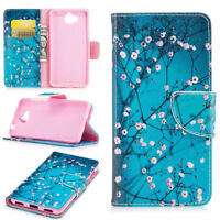 Colors Pattern Wallet Case Flip PU Leather Stand Cover For Huawei Cell Phone