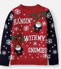 Boys Girls large 10/12 Ugly Christmas Sweater Hanging With The Gnomies Gnomes