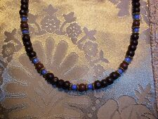 19 inch WOOD Bead & GOLD Tibetan SILVER Beaded ADJUSTABLE Necklace K-86