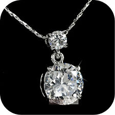 pendant necklace 18k white gold made with SWAROVSKI crystal drop classic 4ct
