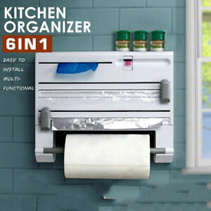 6 IN 1 Kitchen Storage Roll Dispenser Cling Film Tin Foil Holder Rack Organizer