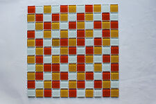 Attactive Crystal Glass Mosaic Tiles - Kitchen/Bathroom feature walls-Orange Mix