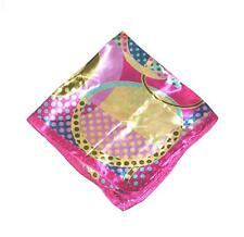 """SCARF Small Square 20"""" Pink Turquoise Yellow Olive POLKA DOTS & RINGS"""