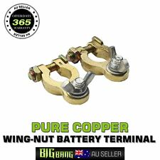 Pure Copper Brass Battery Terminals Clamp Connector Clip Positive Negative Pair