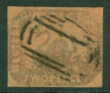 SG 15a Western Australia 1857-58. 2d imperf brown black on red. Variety...