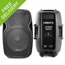 Pair Vonyx Ap1500 Passive DJ PA 15 Inch Foldback ABS Lightweight Speakers 1600w