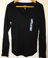NWT GAP Women's Favorite LS T-Shirt Notch Neck Black XS S Free Shipping NEW