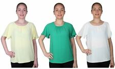 Atmosphere Patternless V Neck Blouses for Women
