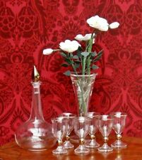 Dolls House Miniature Decanter and glass set dipped in gold